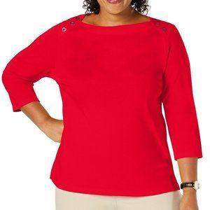 NEW Women's Plus Button-Shoulder Boat-Neck Top